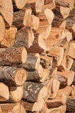 Firewood stacked to dry in a pile Stock Photo