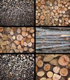 Firewood stacked. On top of large and small Stock Photo