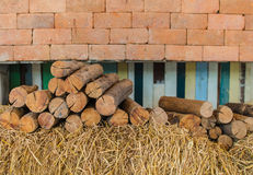 Firewood stacked up in a pile Royalty Free Stock Image
