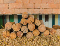 Firewood stacked up in a pile Royalty Free Stock Photo