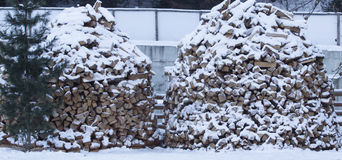 Firewood stacked in winter Stock Image