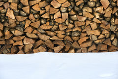 Firewood stacked in winter. Royalty Free Stock Photo