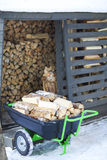 Firewood stacked in winter Royalty Free Stock Images