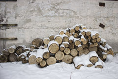 Firewood stacked in a woodpile. Near the concrete wall Royalty Free Stock Image