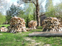Firewood stacks Royalty Free Stock Photography