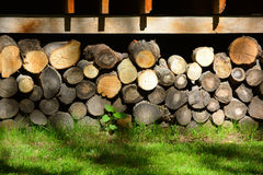 Firewood. Store firewood. Wood burned as fuel royalty free stock photography