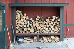 Firewood stored and drying Royalty Free Stock Image