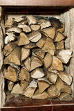 Firewood stored indoors Stock Image