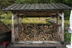 Firewood in stored keeping for winter seasonal. At black forest Germany Stock Image