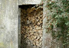 Sustainability and stewardship of natural resources. Firewood stored for winter fuel is a responsible precaution in most cold weather cultures. Thinking ahead stock photos