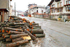 Firewood at the street in Bansko. (Bulgaria Stock Images