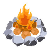 Firewood surrounded by stones vector illustration  on white. Campfire or bonfire symbols, burning trunks with flame Royalty Free Stock Images