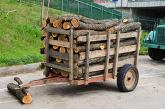 Firewood in the trailer Royalty Free Stock Image