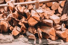 Firewood tree cut log. For fire or burn Royalty Free Stock Photo