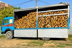 Firewood truck Stock Photo