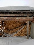 Firewood under the roof royalty free stock image