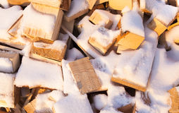 Firewood under snow Stock Photography