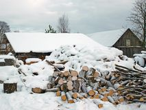 Firewood under snow Royalty Free Stock Photos