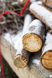 Firewood under the snow Royalty Free Stock Images