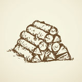 Firewood. Vector drawing. Kindler firelighter combustible  on white backdrop. outline ink hand drawn picture object sketch in art doodle retro style and space Royalty Free Stock Photos