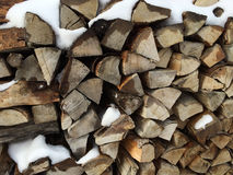 Firewood in winter Stock Photos