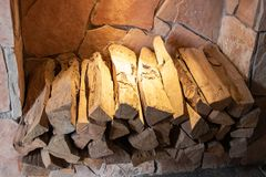 Firewood for wood oven waiting to be used stock photos