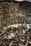Firewood With Wood Shed In Background Royalty Free Stock Photos