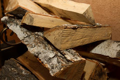 Firewood, wood, woods. A stack of birch wood. The picture for the designer Royalty Free Stock Photos