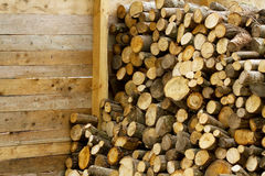 Firewood wooden barn detail Stock Image
