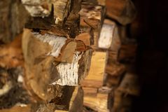 Firewood in Woodpile. Firewood of different deciduous trees in a woodpile Stock Photos