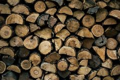 Firewood in woodpile. Prepared for Winter. Pile of firewood. The firewood background. A stack of neatly stacked, dry firewood outdoors royalty free stock image