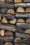 Firewood in woodpile. Prepared for Winter. Pile of firewood. The firewood background. A stack of neatly stacked, dry firewood outdoors stock image