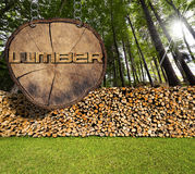 Firewood in the Woods and Lumber Sign Royalty Free Stock Photography