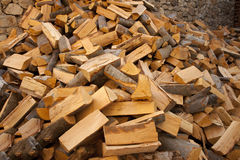 Firewood in. The yard prepared for winter stock photos