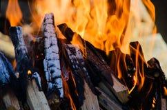 Firewoods brûlant avec la flamme orange chaude image stock