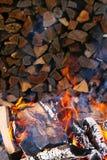 Firewoods brûlants Image stock