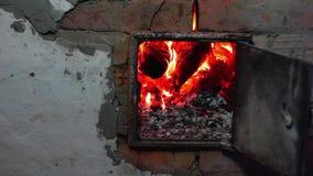 Firewoods burn in oven stock video