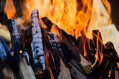 Firewoods que queima-se com a chama alaranjada morna imagem de stock