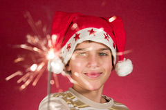 Firework. Child watching a cool firework, sparklers Stock Photography