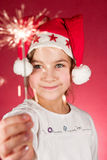 Firework. Child watching a cool firework, sparklers Royalty Free Stock Images