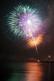 Firework. Night firework on the night beach Royalty Free Stock Photo