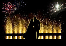 Firework. Beautiful fireworks celebration with night sky and silhouette Royalty Free Stock Photography