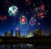 Firework. Over city Kuala Lumpur stock photos