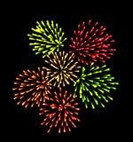 Firework. On black background. Illustration Stock Photos
