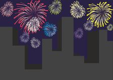 Firework. And town on a background Royalty Free Stock Photos