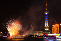 Firework. By a river in Shanghai, China Royalty Free Stock Photos