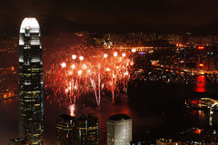 Firework. The Firework Show for the 10th Anniversary of Handover of Hong Kong at the Victoria Harbour that view from the Peak Stock Images