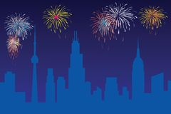 Firework. Celebration, with city skyline and north America landmark Royalty Free Stock Images