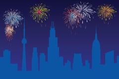 Firework. Celebration, with city skyline and north America landmark vector illustration