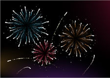 Firework. Vector  illustration of different fireworks lighting up the sky in black background.  Great for celebration and festive works Stock Images